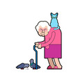 grandmother feeds pigeons grandma and cat good vector image