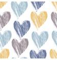 grunge textured hand drawn heart pattern vector image