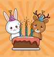 happy birthday card with cute rabbit and deer vector image