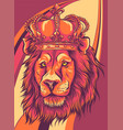 head a lion with a crown vector image vector image