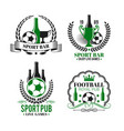 icons for soccer bar or football sport pub vector image vector image