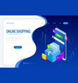 isometric online shopping concept landing vector image