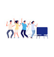 karaoke evening happy friends sing together flat vector image