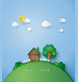little house on the hill with green grass vector image