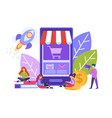 little people make purchases with help of vector image vector image