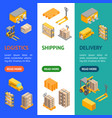 logistic delivery service banner vertical set vector image vector image