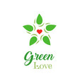 logo organic food green love slogan on white vector image