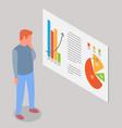man estimates demand indicators on presentation vector image vector image