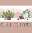 managers in call center hotline online customer vector image