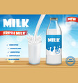 milk bottle and glass with splash isolated on vector image