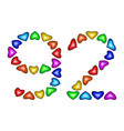 number 92 ninety two of colorful hearts on white vector image vector image
