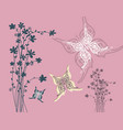retro pink background with flowers silhouette and vector image