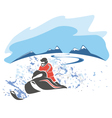Riding a snowmobile picture vector image