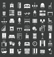 room furniture silhouette icons set vector image vector image