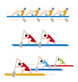 rowing race icons vector image vector image