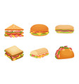 set delicious juicy sandwiches filled