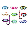 set goggles dive or scuba mask vector image vector image