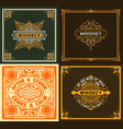 set of 4 vintage labels western style vector image vector image
