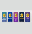 set of vertical banner templates with a coin of vector image