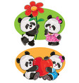 set with a couple panda bears in love vector image