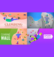 sport climbing banner set cartoon style vector image vector image