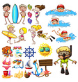 Summer set with swimmers and equipment vector image vector image