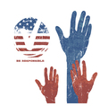 Voting Hands Vote sign Flag background Patriotic vector image vector image