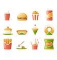 retro flat fast food icons and symbols set vector image