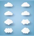 cloud set paper art style vector image