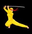 Bright female ninja vector image