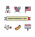 4th july patriotic icons independence day vector image