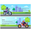biker man on scooter drives to work banners set vector image vector image