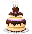birthday cake cartoon vector image vector image