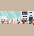 busy airport scene with plane vector image