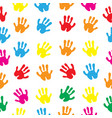 children s hands hand prints seamless texture vector image vector image