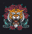 colorful aggressive tiger head vector image vector image