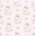 cute seamless pattern with cartoon unicorn magic vector image vector image