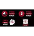 Cyber monday sale banner set witn black background vector image