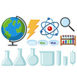different types of science equipments vector image