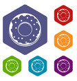 donut icons set hexagon vector image vector image