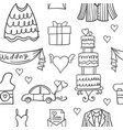 doodle of wedding element unique style vector image vector image