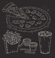 doodle set fast food pizza sauce and vector image vector image