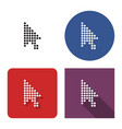 dotted icon pointer arrow in four variants vector image