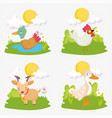 duck rooster goat grass sun farm animals vector image