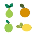 emblems of a pear apple orange lemon vector image vector image