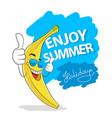 enjoy summer holidays vacation slogan banana in vector image