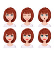 face expressions of woman with brown hair vector image vector image