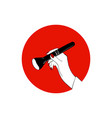 female hand with makeup brush on red circle vector image vector image