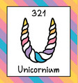 fictional cute chemical element unicornium unicorn vector image