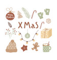 hand drawn christmas design for posters greeting vector image vector image